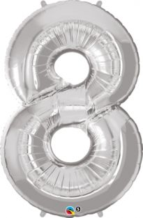 "42"" NUMBER 8(EIGHT) SILVER (PK)"