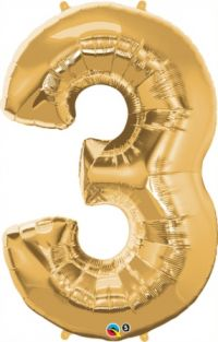 "44"" NUMBER 3(THREE) METALLIC GOLD (PK)"