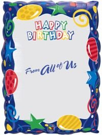 """30"""" CARD BDAY FROM ALL OF US-NAMES FOIL"""