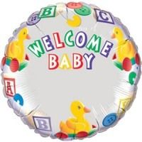 """18"""" RND WELCOME BABY DUCKS-NAME FOIL"""