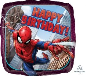 "18"" SQ SPIDER-MAN HAPPY BDAY (PK)"