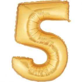 "14"" NUMBER 5 GOLD FOIL~DISC"