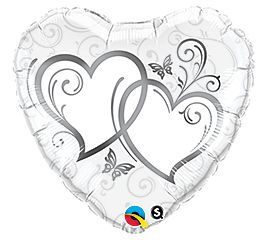 """18"""" HRT ENTWINED HEARTS SILVER (PK)"""