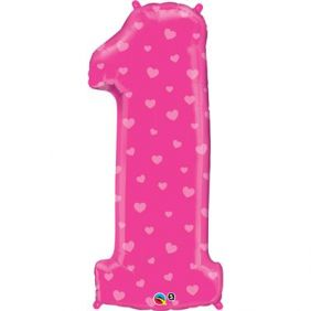 "38"" NUMBER 1(ONE) PINK HEARTS(PK)"