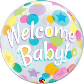 """22"""" WELCOME BABY COLORFUL DOTS (PK)"""
