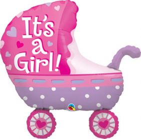 "35"" SHAPE IT'S A GIRL BABY STROLLER (PK)"