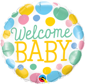 """18"""" RND WELCOME BABY DOTS (PK)"""