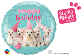 "18"" RND SP-BDAY PUPPIES (PK)"