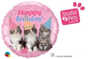 "18"" RND SP-BDAY KITTENS (PK)"