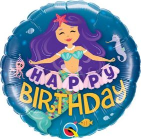 "18"" RND HAPPY BDAY MERMAID (PK)"