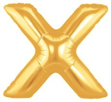 """40"""" LETTER X GOLD POLYBAGGED 1CT/PK"""