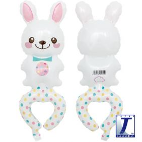 WHITE BUNNY WITH EGG (H18CM/W13CM)