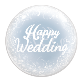 T-BALLOON RND 18' HAPPY WEDDING (400MM) 10CT