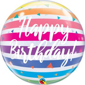 "22"" SB BIRTHDAY BRIGHT RAINBOW STRIPES (PK)"