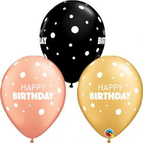 "11"" RND BIRTHDAY BIG & LITTLE DOTS 50CT"