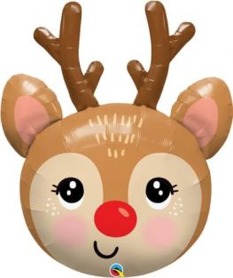 "35"" SHAPE RED-NOSED REINDEER HEAD FLAT FOIL"