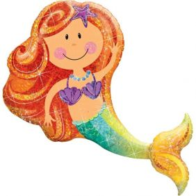 "38"" SHAPE MERRY MERMAID HOLO FLAT FOIL"