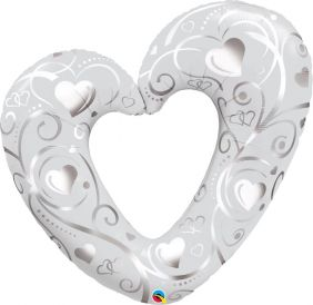 "42"" HEARTS & FILIGREE PRL WHITE FLAT FOIL *DiscontinuedBC"