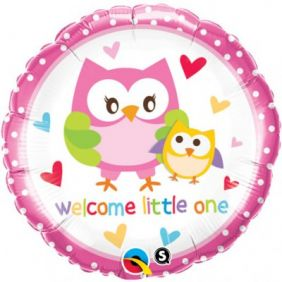 """18"""" RND WELCOME LITTLE ONE OWLS (PK)"""