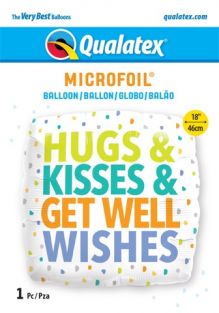 "18"" SQ HUGS KISSES GET WELL WISHES (PK)"