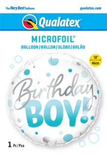 "18"" RND BIRTHDAY BOY BLUE DOTS (PK)"