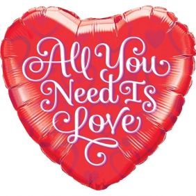 """18"""" HRT ALL YOU NEED IS LOVE RED PK CO"""