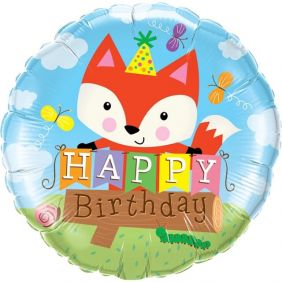 "18"" RND BIRTHDAY PARTY FOX FLAT FOIL"