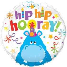 "18"" RND HIP HIP HOORAY HIPPO (PK)"