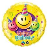 "09"" RND BDAY SMILEY FACES FOIL"