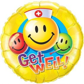 "36"" RND GET WELL SMILEY FACES (PK)"