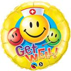"09"" RND GET WELL SMILEY FACES FOIL"