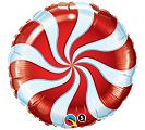 "18"" RND CANDY SWIRL RED FOIL"