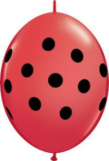 "06"" QLINK BIG POLKA DOTS RED w/B 50CT"