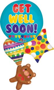 "21""X33"" GET WELL BEAR & BALLOONS (PK)"