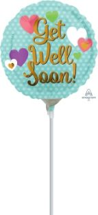 "04"" RND GET WELL SOON HEARTS FOIL"