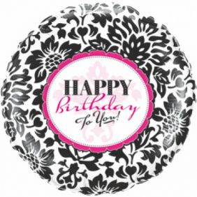 "09"" RND BIRTHDAY ELEGANT DAMASK FOIL"