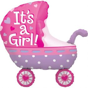 "35"" SHAPE IT'S A GIRL BABY STROLLER (PK) CO"