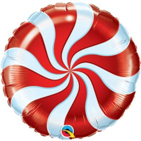 "09"" RND CANDY SWIRL RED FOIL"