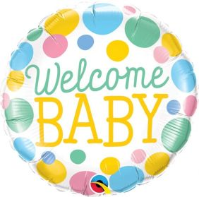 "18"" RND WELCOME BABY DOTS FLAT FOIL"