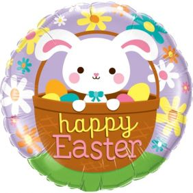 "18"" RND HAPPY EASTER BUNNY (PK)"