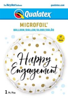 "18"" RND HAPPY ENGAGEMENT GOLD DOTS (PK)"