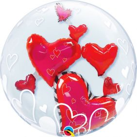 "24"" LOVELY FLOATING HEARTS (PK) D.BUBBLE"