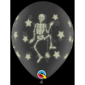 "11"" RND GLOW SKELETONS WRAP DC 25CT"