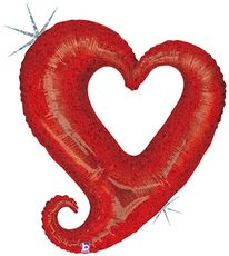 """37"""" CHAIN OF HEARTS RED HLG"""