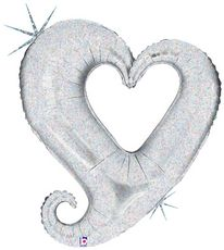 """37"""" CHAIN OF HEARTS SILVER HLG"""