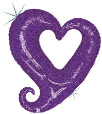 """37"""" CHAIN OF HEARTS PURPLE HLG"""
