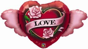 """45"""" WINGED WINGED LOVE & ROSES FOIL"""