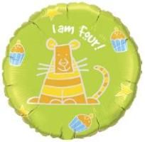 "18"" RND I AM FOUR! TIGER (PK)"