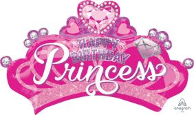 "32""x19"" SHP BIRTHDAY PRINCESS CROWN & GEM (PK)"