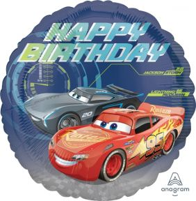 "18"" RND CARS 3 HAPPY BDAY (PK)"